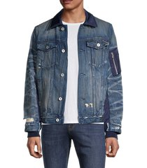 cult of individuality men's type ii mixed-media denim jacket - sync blue - size l