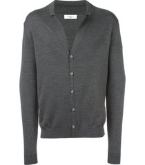 fashion clinic timeless notched lapel cardigan - grey