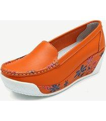 casual scarpe con zeppa slip-on a contrasto di colore