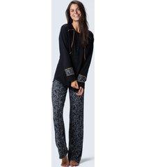 pijama joge longo aberto tricot preto
