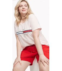 tommy hilfiger women's relaxed fit essential logo flag t-shirt soft pink - xxl