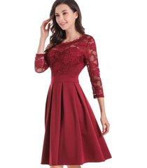 vestido clásico encaje burdeos nicopoly