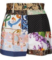 dolce & gabbana multicolor cotton blend shorts