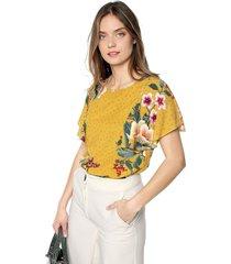blusa mostaza-multicolor esprit