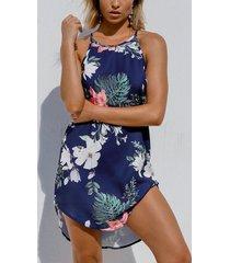 camiseta con estampado floral tropical azul marino cuello y dobladillo curvo mini vestido