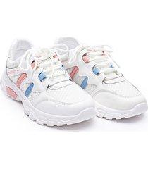 tenis franja rosa y azul color blanco, talla 37