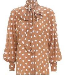 batwing silk blouse in tan/pearl dot