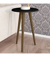 mesa de canto redonda brilhante 2074953 preto fosco - bechara móveis