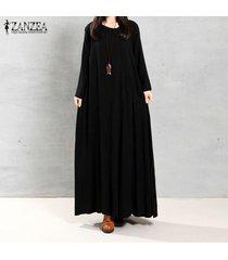 zanzea mujeres otoño retro vestido o-cuello de manga larga bolsillos botones decoración sólidos maxi algodón elegante largo vestidos (negro) -negro