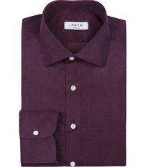 camicia da uomo su misura, canclini, velluto millerighe ametista 100% cotone, autunno inverno   lanieri