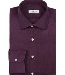 camicia da uomo su misura, canclini, velluto millerighe ametista 100% cotone, autunno inverno | lanieri