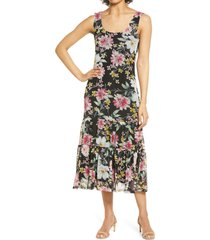 connected apparel floral print midi dress, size 10 in black at nordstrom