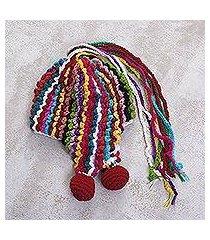 alpaca blend chullo hat, 'colorful carnival' (peru)