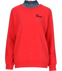 sweatshirt med bluskrage