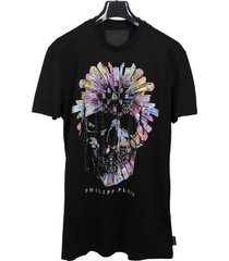 philipp plein crew neck t-shirt with colored skull
