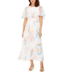 calvin klein printed chiffon cape maxi dress