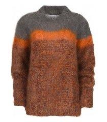 les tricots d'o fw19hp001 cognac/grey trui bruin