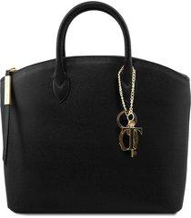 tuscany leather tl141261 tl keyluck - borsa shopper in pelle saffiano nero