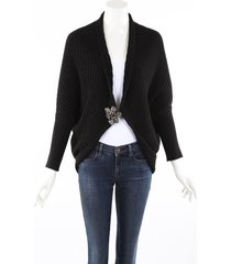 lanvin beaded black wool yak knit cardigan sweater black/gray sz: s