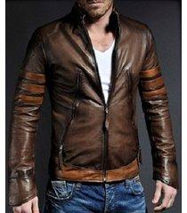 men stylish retro motorcycle leather jacket, men genuine leather fashion jackets