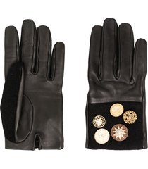 chanel pre-owned star buttons leather gloves - black