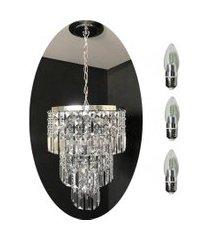kit lustre cristal acrílico 30x68 + 3 lâmpadas led acl24