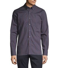 hickey freeman men's plaid long-sleeve shirt - navy red - size s