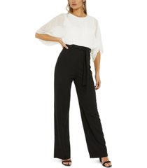 quiz two-tone sheer sleeve jumpsuit