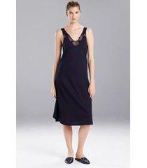 natori fleur nightgown, women's, blue, cotton, size l natori