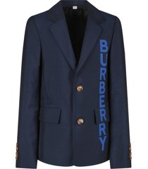 burberry blue jacket with logo for boy