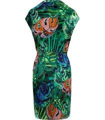 jurk met verbrede schouders en ronde hals van peter hahn multicolour