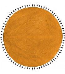 dywan okrągły z chwostami musztardowy 120 cm