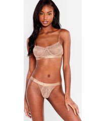 womens strong attraction lace bralette and panty set - beige
