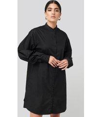 na-kd classic oversized cotton shirt dress - black