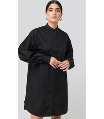 na-kd classic oversized cotton shirt dress - black