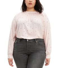levi's trendy plus size lily shirred polka-dot top