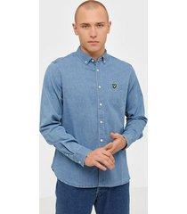 lyle & scott indigo ls shirt skjortor indigo