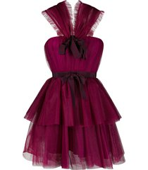 brognano ruffle design dress - 75 bordeaux