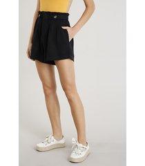 short clochard feminino cintura alta com botões preto