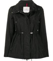 moncler drawstring waist parka coat - black