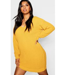plus bella v neck sweater mini dress, mustard