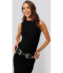 na-kd basic sleeveless ribbed midi dress - black