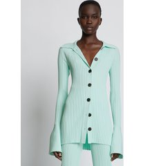proenza schouler rib knit collared cardigan mint/green l