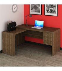 mesa para escritório 3 gavetas nogal me4106 - tecno mobili