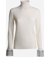 dolce & gabbana wool sweater with tweed details