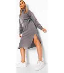 fijn gebreide midaxi trui jurk met col, light grey
