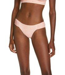 women's robin piccone ally side ruched bikini bottoms, size small - coral