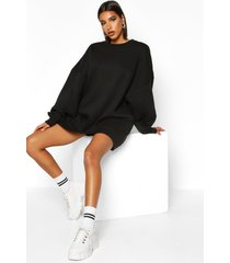 extreme oversized crew neck sweat dress, black