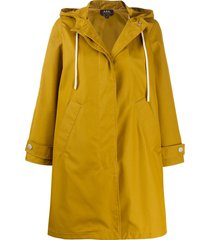 a.p.c. drawstring hood rain coat - yellow