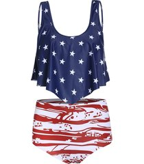 american flag print padded tankini swimsuit